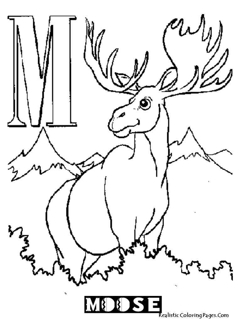 M Letters Alphabet Coloring Pages