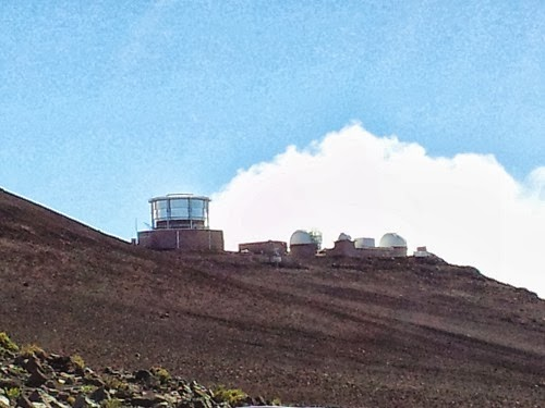 Panoramic view of telescopes on Haleakala Mountain