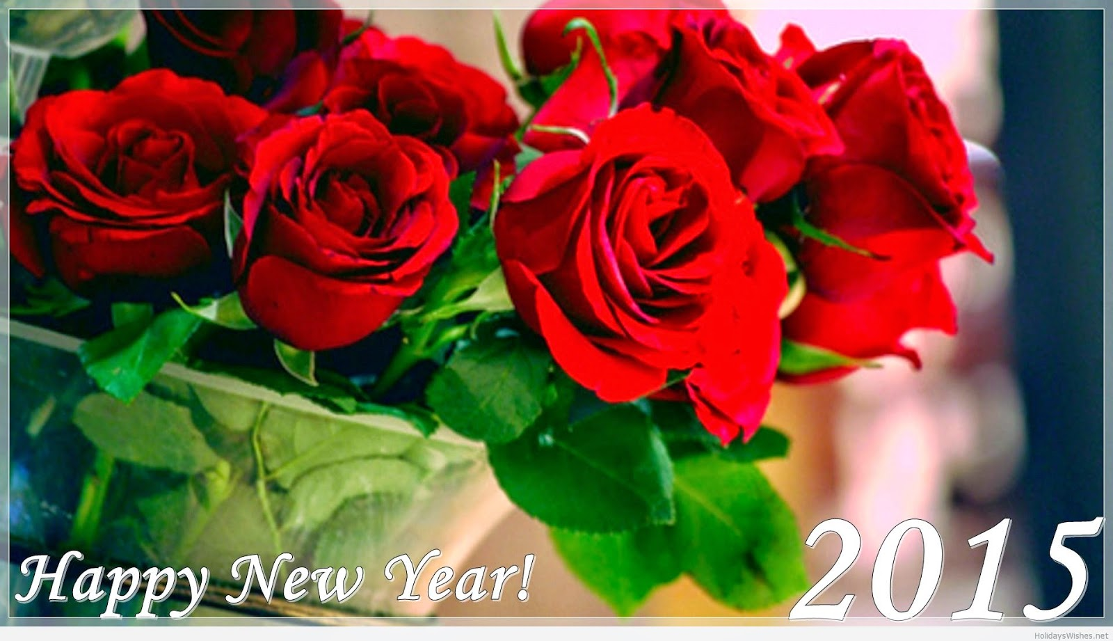 Happy New Year 2015 HD Cards For Friends - Download Rose Wallpaper