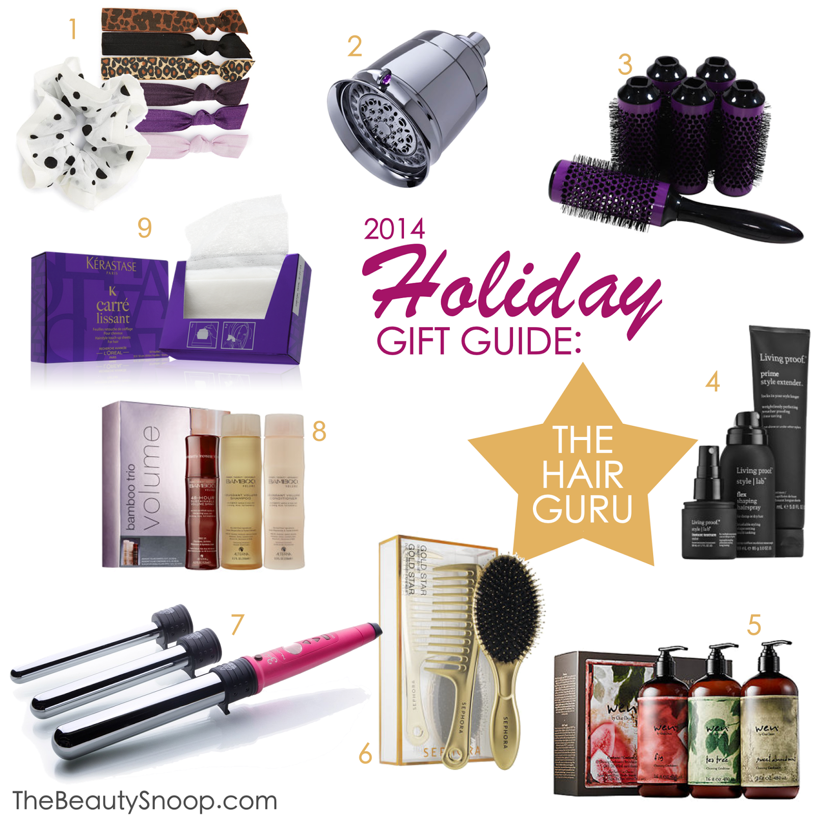 Christmas gift guide for her, hair and beauty gift giving guide, gift ideas for women and teens who love Sephora, gift ideas for women, hair stylist picks for best gifts this season: T3 Showerhead; Click n Curl Brushes; Living Proof Prime & Prep; Wen Cleansing Conditioner Trio; Sephora Gold Star Brush Duo; Nume Titan 3; Alterna Bamboo Volume Trio; Kerastase Carre Lissant; Emi Jay Ties; Top Shop Scrunchie
