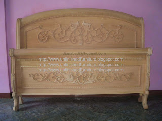 Wooden raw unfinished sleight bed carved