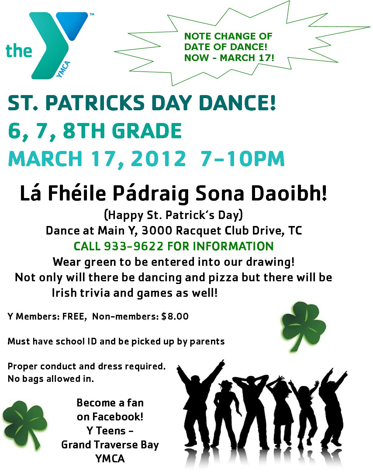 St. Pat's Y Teen Dance - Change of date