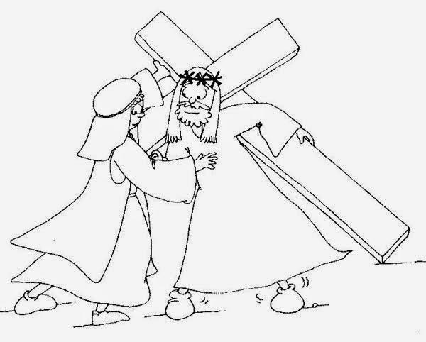 el encuentro de jesús y simón de cirene para colorear y explicar a
