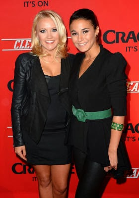 Actors Emily Osment (L) and Emmanuelle Chriqui
