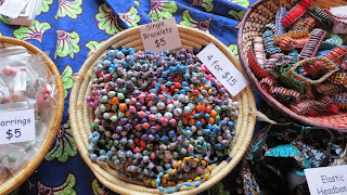 African handmade bracelets for sale at a craft fair