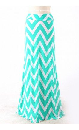 Flared Chevron Maxi Skirt