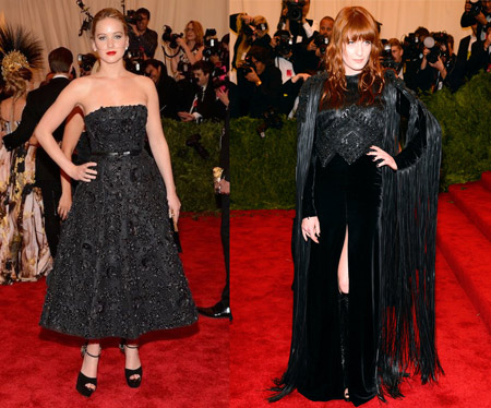 Jennifer Lawrence in Christian Dior and Florence Welch in Givenchy