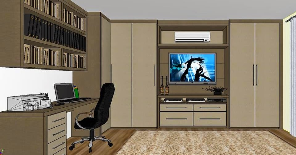 Sala Tv Home Office ~ Ambientes & Ideias Sala de TV com Home Office