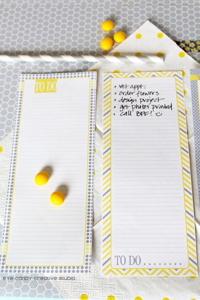 make a list, write it down & forget it, yellow & gray chevron, polka dots