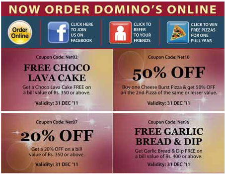 Dominos online coupons india
