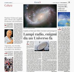 Lampi radio, enigmi da un Universo fa