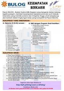 Lowongan Kerja PERUM BULOG Terbaru Di Lampung, Lowongan Kerja SMA/ SMK PERUM BULOG Terbaru, Lowongan Kerja D3 PERUM BULOG Terbaru, Lowongan Kerja D1 PERUM BULOG Terbaru, Lowongan Kerja S1/ Sarjana PERUM BULOG Terbaru, Lowongan Kerja Administrasi PERUM BULOG Terbaru, Lowongan Kerja Accounting PERUM BULOG Terbaru, Lowongan Kerja Driver/ Sopir PERUM BULOG Terbaru, Lowongan Kerja Satpam/ Scurity PERUM BULOG Terbaru, Lowongan Kerja Staff PERUM BULOG Terbaru, Lowongan Kerja CS/ Costumer Service di PERUM BULOG Terbaru, Lowongan Kerja IT di PERUM BULOG Terbaru, Karir Lampung di PERUM BULOG Terbaru, Alamat Lengkap PERUM BULOG Terbaru, Struktur Organisasi PERUM BULOG Terbaru, Email PERUM BULOG, No Telepon PERUM BULOG Website/ Situs Resmi PERUM BULOG Terbaru, Gaji Standar UMR di PERUM BULOG Terbaru, Daftar Cabang Perusahaan PERUM BULOG Terbaru, Lowongan Kerja Penipuan PERUM BULOG Terbaru, Lowongan Kerja PERUM BULOG Terbaru di Bandar Lampung, Lowongan Kerja PERUM BULOG Terbaru di Metro, Lowongan Kerja PERUM BULOG Terbaru di Bandar Jaya, Lowongan Kerja PERUM BULOG Terbaru di Liwa, Lowongan Kerja PERUM BULOG Terbaru di Kalianda, Lowongan Kerja PERUM BULOG Terbaru di Tulang Bawang, Lowongan Kerja PERUM BULOG Terbaru di Pringsewu, Lowongan Kerja PERUM BULOG Terbaru di Kota bumi, Lowongan Kerja PERUM BULOG Terbaru di Krui, Lowongan Kerja PERUM BULOG Terbaru di Natar, Lowongan Kerja PERUM BULOG Terbaru di Blambangan Umpu, Lowongan Kerja PERUM BULOG Terbaru di Panaragan Jaya, Lowongan Kerja PERUM BULOG Terbaru di Sukadana, Lowongan Kerja PERUM BULOG Terbaru di Gunung Sugih, Lowongan Kerja PERUM BULOG Terbaru di Wiralaga Mulya, Lowongan Kerja PERUM BULOG Terbaru di Gedong Tataan, Lowongan Kerja PERUM BULOG Terbaru di Surabaya, Lowongan Kerja PERUM BULOG Terbaru di Bandung, Lowongan Kerja PERUM BULOG Terbaru di Bekasi, Lowongan Kerja PERUM BULOG Terbaru di Medan, Lowongan Kerja PERUM BULOG Terbaru di Tangerang, Lowongan Kerja PERUM BULOG Terbaru di Depok, Lowongan Kerja PERUM BULOG Terb