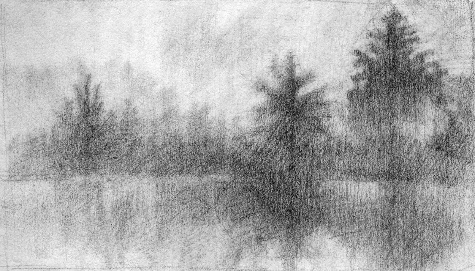 abstracted landscape pencil drawing three trees artist janine aykens