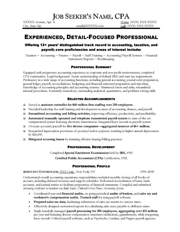 Professional resume of an accountant