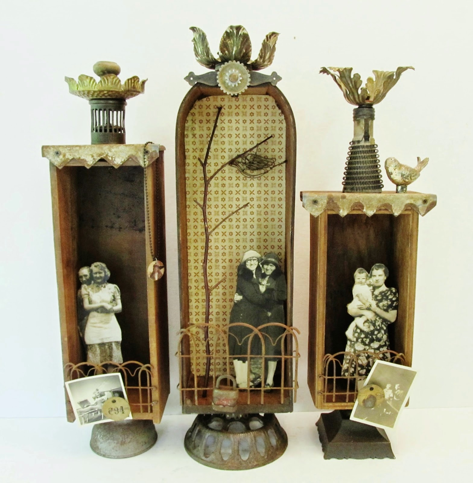 Assemblage Art Shadowbox Trio