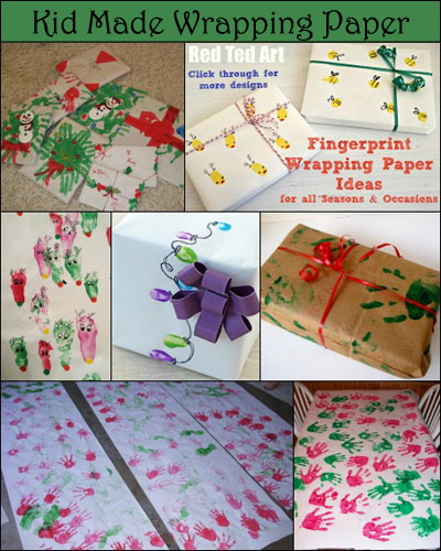 DIY Christmas Wrapping paper, Handprint Gift Wrap, Fingerprint Wrapping Paper