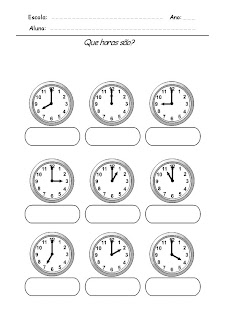 Atividade com horas Relógios para Completar - Que horas são 3
