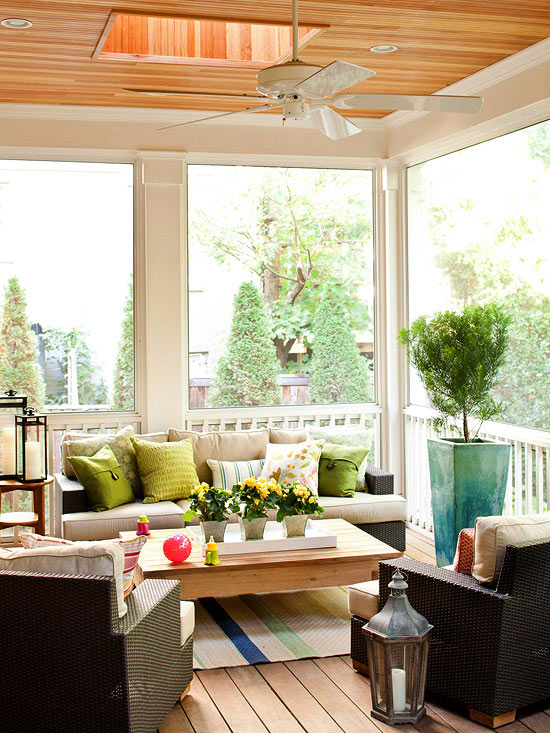 Modern furniture decorating porches ideas for summer 2013 Screened in porch decor
