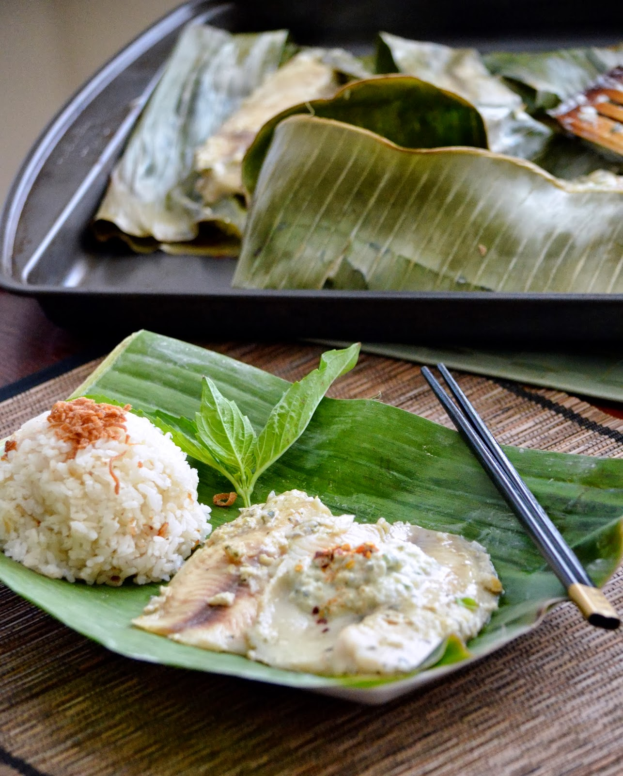 thai fish baked in banana leaf and coconut rice. Black Bedroom Furniture Sets. Home Design Ideas