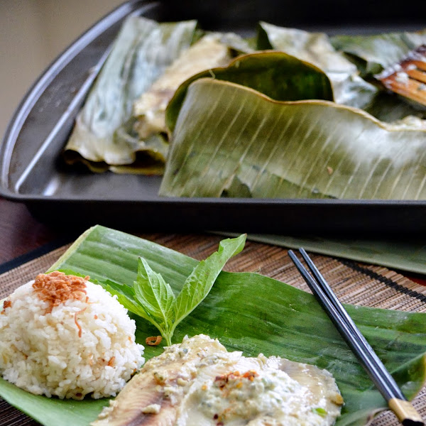 Thai Fish Baked in Banana Leaf and Coconut Rice