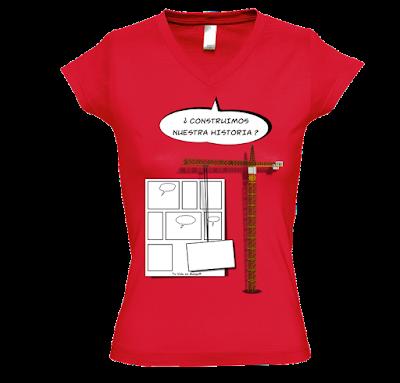"""Camiseta manga corta para mujer """"En construcción """" color rojo"""