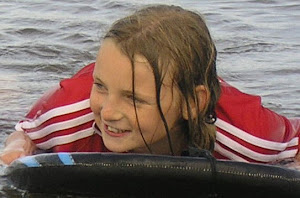 Chelsey bodyboarding at Saltburn.