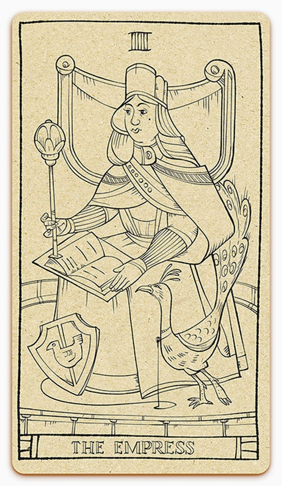 The Empress card - inked illustration - In the spirit of the Marseille tarot - major arcana - design and illustration by Cesare Asaro - Curio & Co. (Curio and Co. OG - www.curioandco.com)