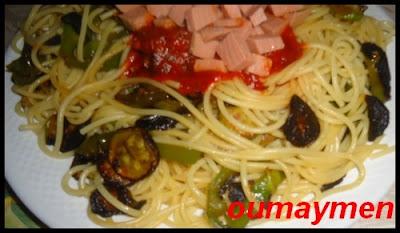 spakiti 1 سباكيتي بالخضر المقلية وكاشير