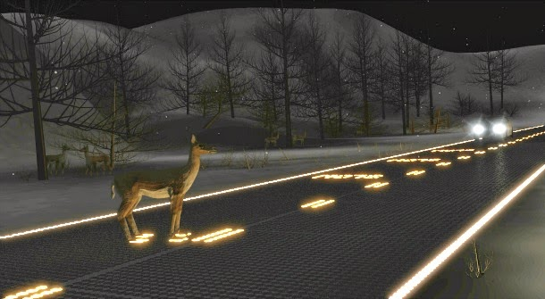 Led Lighting Driving On Solar Powered Led Glass Road