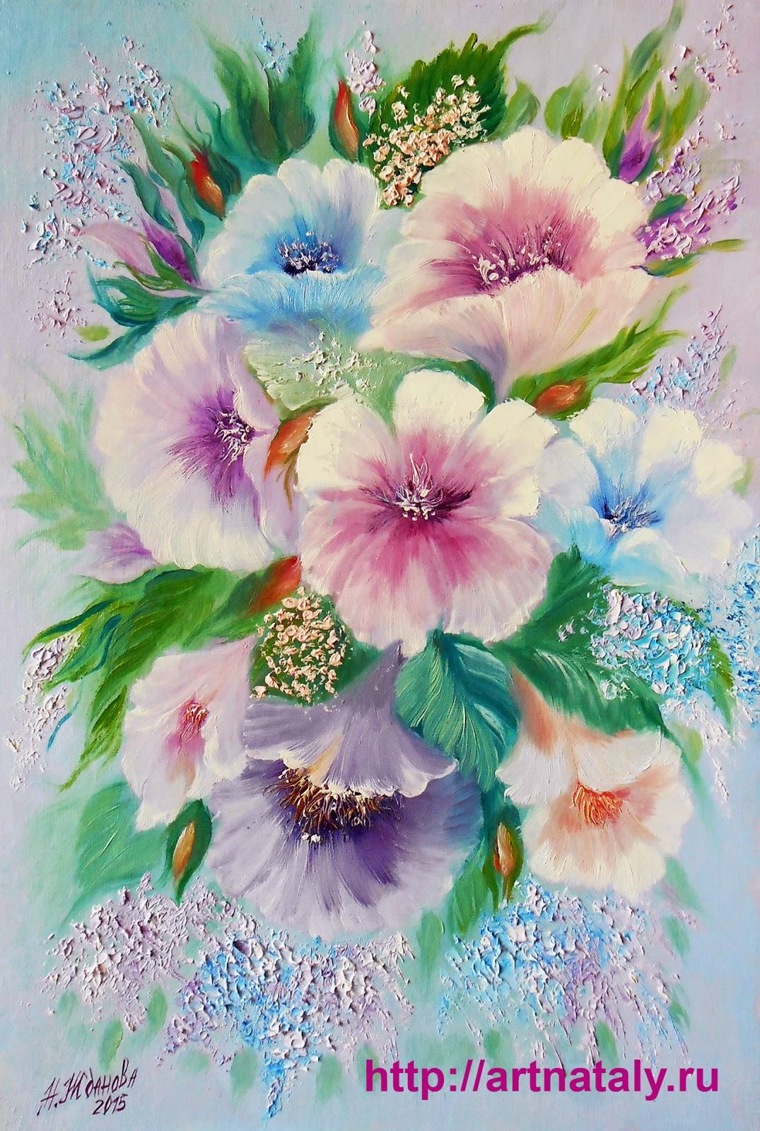 Картина маслом для интерьера Весенний букет цветов