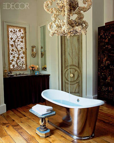 ... California, Home Of Interior Designers Andrew Fisher And Jeffry  Weisman, A Shell Encrusted Chandelier Crafted By The Designers Also Acts As  A Tub Filler ...