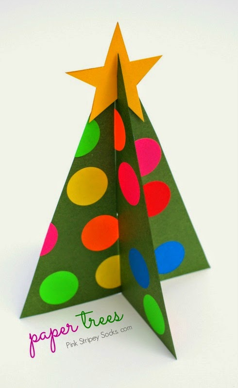 header how to make paper Christmas trees with template