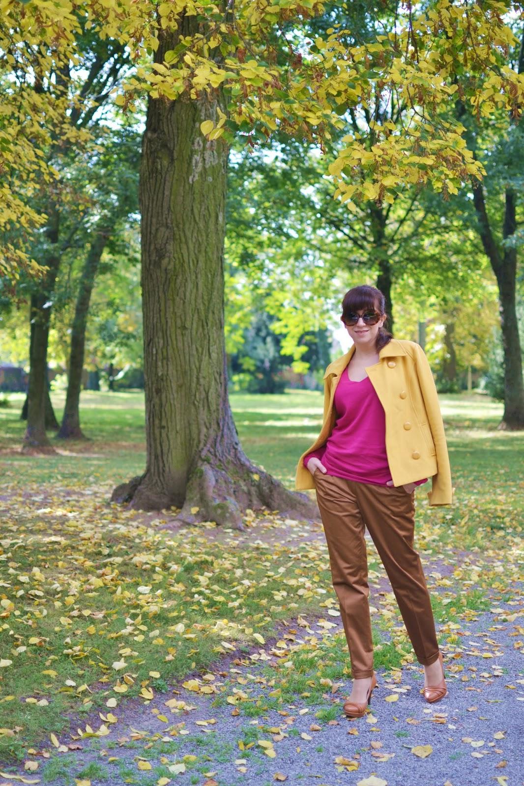 Ďakujem, ale nemám záujem_Katharine-fashion is beautiful_Žltý kabát_Ružový sveter_Katarína Jakubčová_Fashion blogger