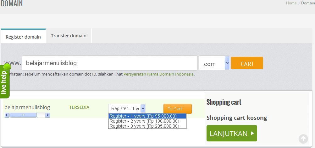 Membeli Domain murah Di Niagahoster