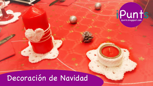 Navidad crochet ipunts decoracion mesa estrellas velas ganchillo facil patron