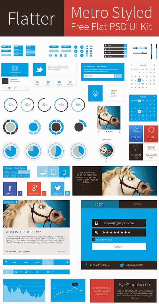 Metro Style Flat UI Kit PSD