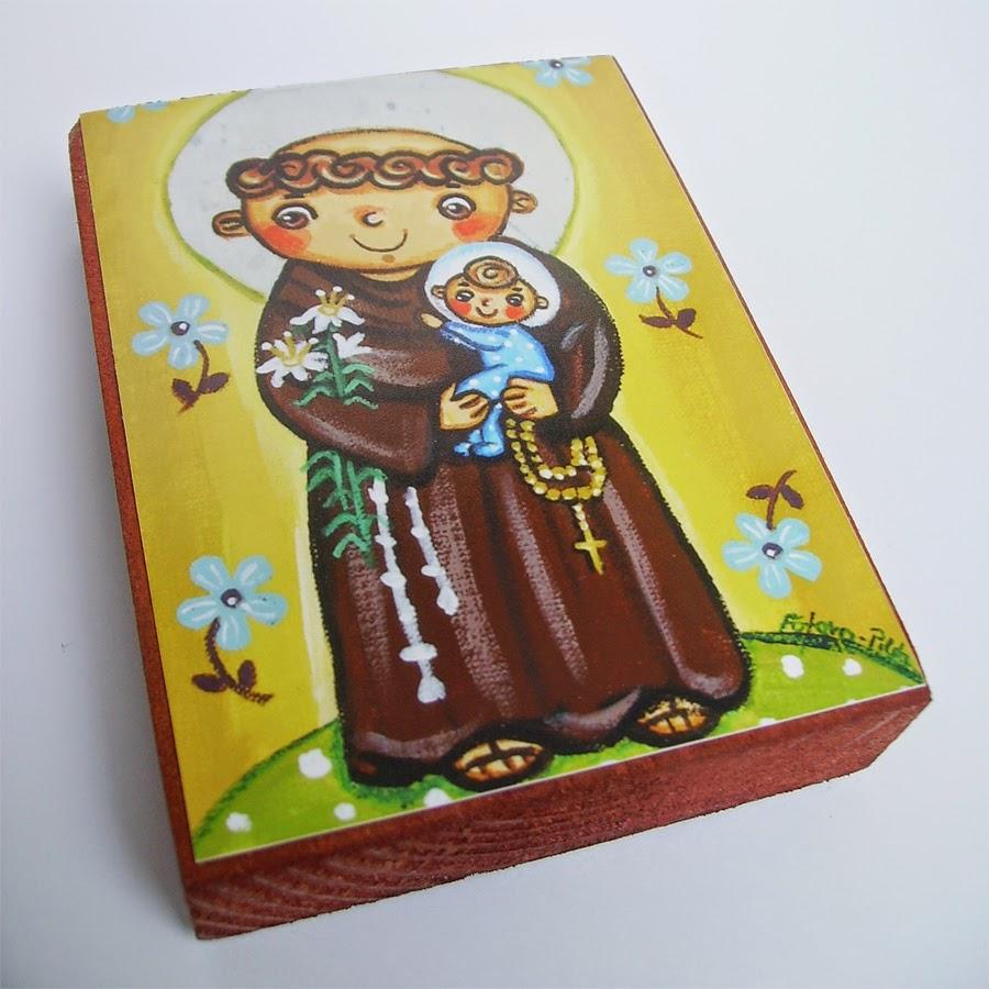 Drewniany obrazek obraz ilustracja święty Antoni święta patron święci błogosławiona błogosławiony dla dziewczynki chłopca chłopczyka dziecka prezent upominek na gwiazdkę ozdoba dekoracja bożonarodzeniowa świąteczna Jezus Chrystus Matka Boska Różańcowa różaniec Maryja dziecko pamiątka chrztu chrzest pierwsza bierzmowanie komunia narodziny urodziny