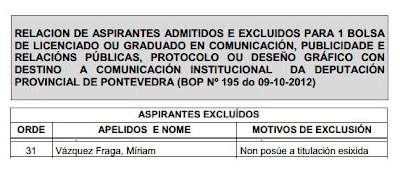 Diputación Pontevedra excluye a periodistas de beca de comunicación