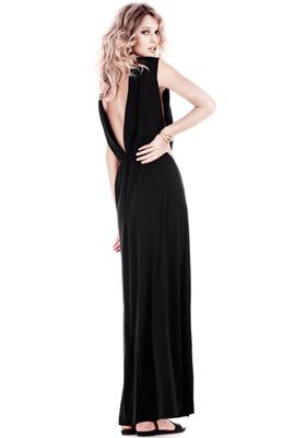 vestido largo negro H&M