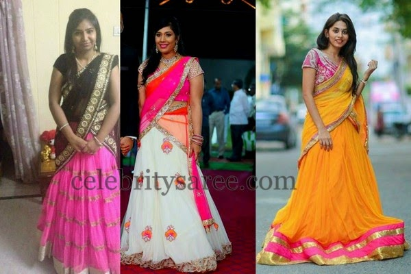 Pretty Girls in Chiffon Half Sarees