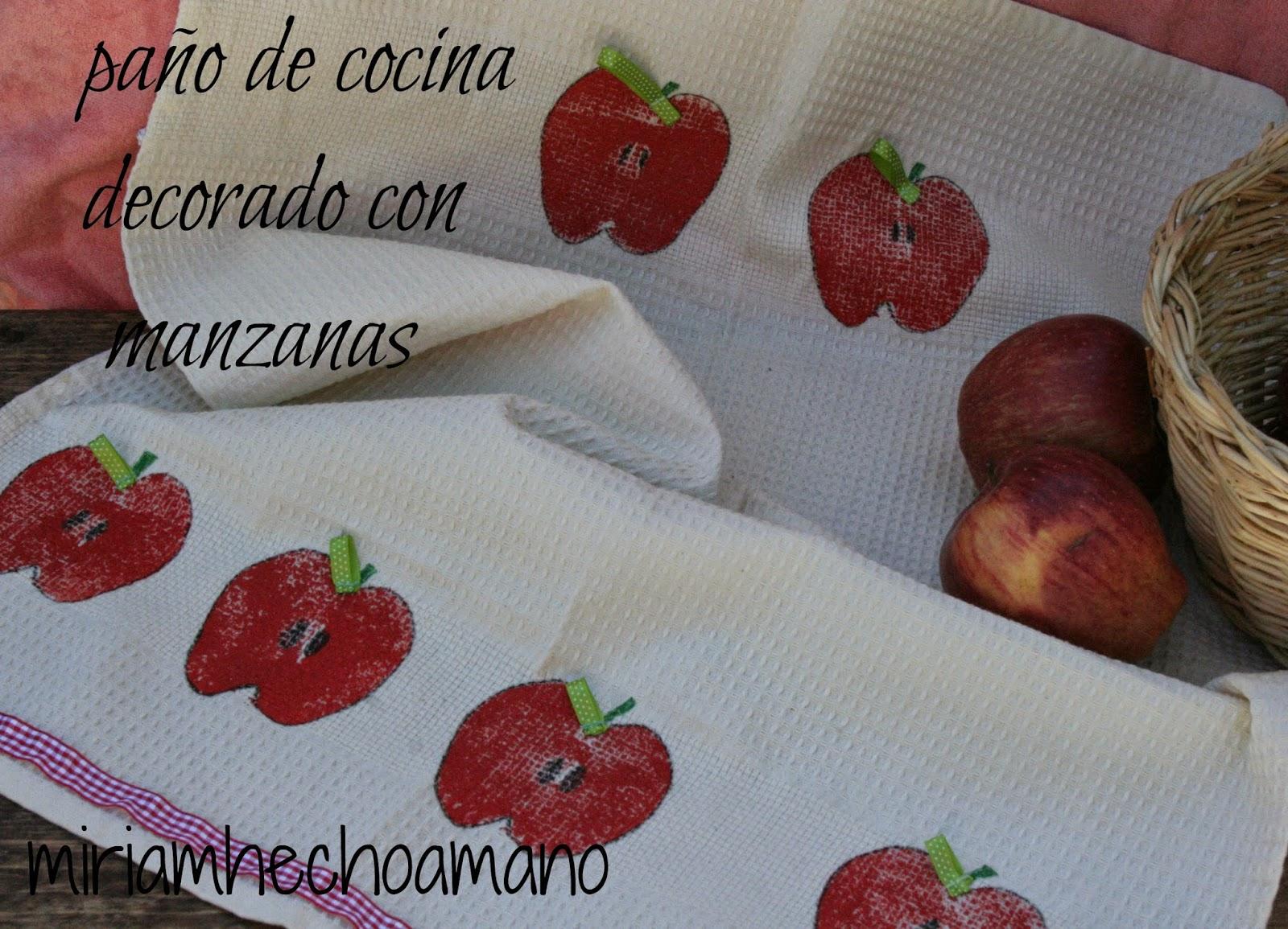 miriam hecho a mano: PAÑO DE COCINA DECORADO CON MANZANAS. RETO ...