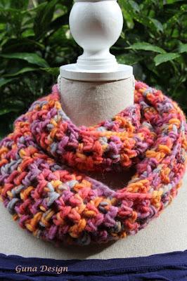 gunadesign guna andersone chunky bulky yarn multi color cowl scraf
