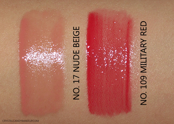 Burberry Kisses Gloss No.17 Nude Beige No.109 Military Red Photos Swatches