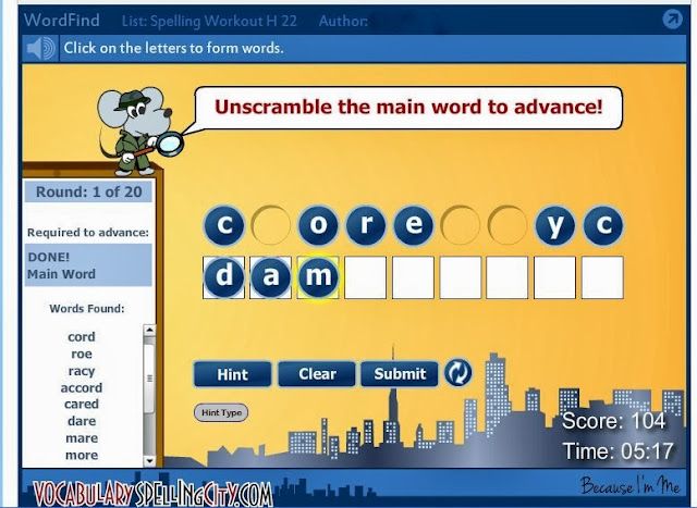 Because I'm Me Vocabulary Spelling City Review, great fun way to help kids learn spelling words and their meanings
