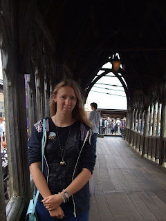 Lorna Holland on the Hogwarts Bridge on the Harry Potter studio tour