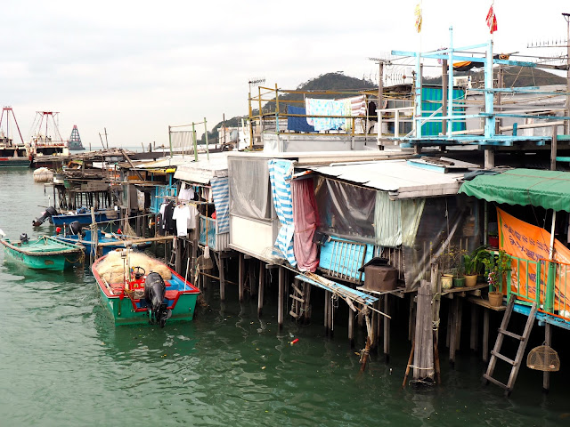 Stilt houses and fishing boats in Tai O fishing village, Lantau Island, Hong Kong