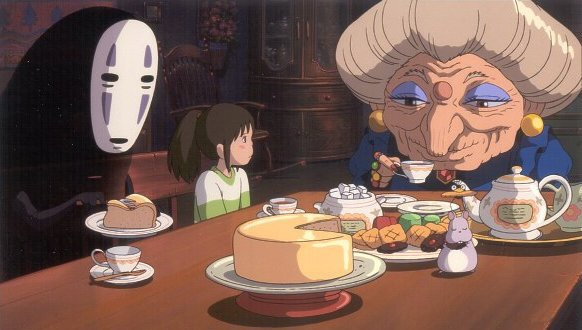 Chihiro and the witch Yubaba in Spirited Away 2001 animatedfilmreviews.filminspector.com