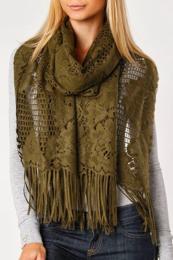 Crochet Scarf In Olive