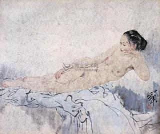 рисунок обнаженной китаянки