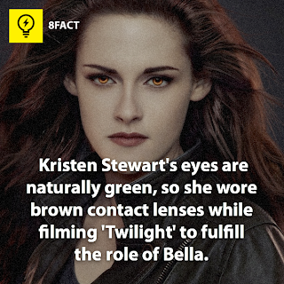 "green eyes facts , Kristen Stewart's eyes are naturally green , so she wore brown contact lenses while filming ""Twilight"" to fulfill the role of Bella."